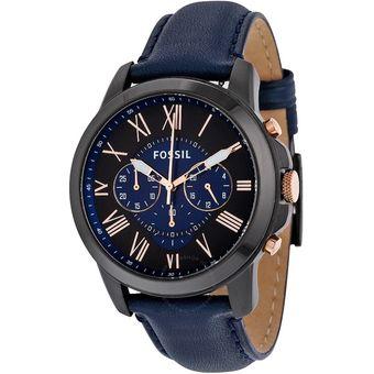 Reloj Fossil Grant FS5061 Analógico Correa De Cuero Para Hombre - Negro Y  Azul ebdeeb089266