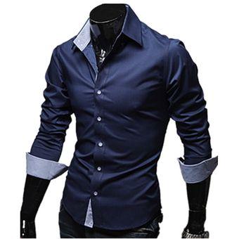 3172adc97 Compra Camisa Para Hombre Casual Con Contraste Cuello Band (Marina ...