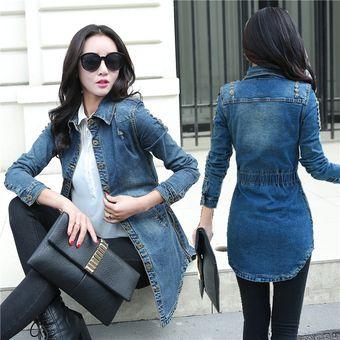 a4bfa1c904c10 Compra Chaqueta de mezclilla larga vintage para mujer Slim Blue Jean ...