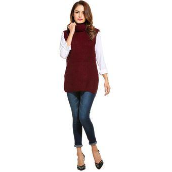 Compra Chaleco De Suéter Turtleneck Para Mujer - Rojo De Vino online ... 89ea2856ff73a