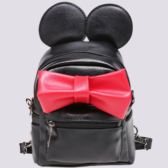 8b8d9ac68 Mochila Bolsa Sintético Cuero Oreja de Mickey mouse Arco Lazo Pequeño De  Viaje Para Mujer -