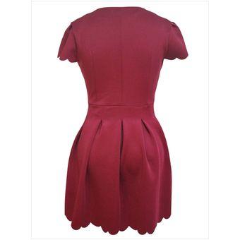 11a11d86a Vestido con mangas cortas escote V estilo modelo y simple color vino