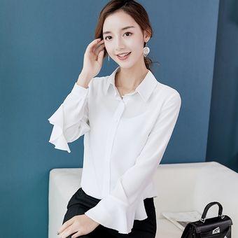 32ae23e9e4 Compra Camisa de gasa de manga larga de gran tamaño para mujer nueva ...