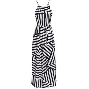 82e9445eed04e Maxi Vestido Largo Sin Manga Tirantes Finos Con Escote Halter Elegante  Playa Para Mujer