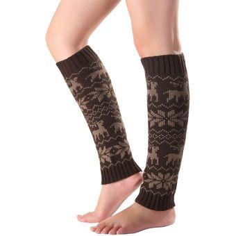 buscar el más nuevo diseños atractivos disponibilidad en el reino unido Calcetines Cálidos Altos Patrón De Nieve Para Mujer - Café