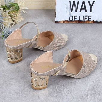 815e0b3be373 Women Casual Sandals Soft PU Platform Wedges Thick Mid-heeled Shoes Peep-toe  Gold