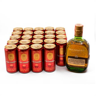Whisky Buchanans Master 750 ml +24 Cervezas Club Colombia Roja 269 ml c/u (COMBO)