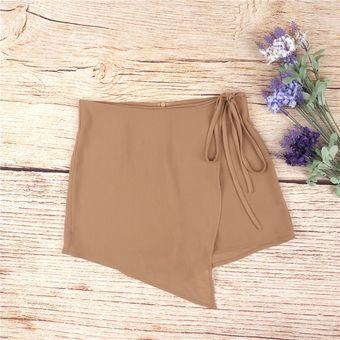 Pantalones Cortos  Falda Pantalón Falso Dos Piezas Shorts Irregulares Para  Mujer – Caqui 4760d8bd92db