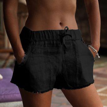 Verano Bolsillos De Algodon Lino Shorts Mujer Moda Flecos Pantalones Cortos De Color Liso Con Bolsillos Verano Shorts Mujer Black Linio Peru Un055fa00rvsflpe