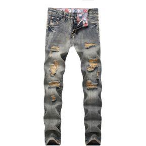 72e4e8aca2e Pantalones vaqueros desgastados desgastados de talla grande para hombres