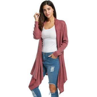 Compra Cardigan Dobladillo Asimétrico Para Mujer - Rojo online ... e44ede0de0a6