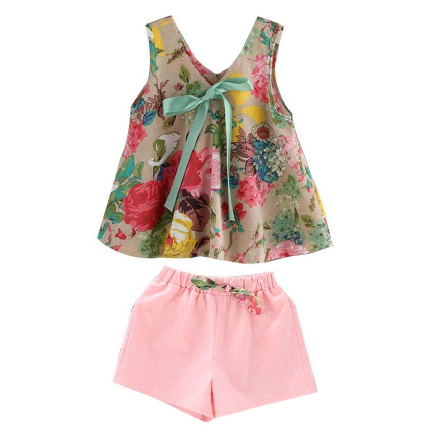Muchachas del verano para niños Trajes sin mangas floral de la moda Imprimir vestido con pantalones cortos