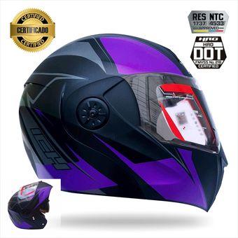 b147d00a4afc1 Compra Casco Certificado Abatible Para Moto Ich 3110 Morado online ...