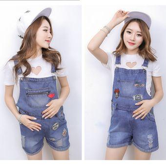 019e538c8 Pantalones De Tirantes Jeans De Mujer Embarazada De Vaqueros De Moda -azul