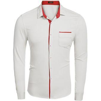 Compra Camisa Botón Abajo Manga Larga Para Hombre - Blanco online ... b300f540910
