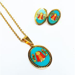 bc00a7e21064 Set De Collar y Aretes Virgen Maria Acero Enchapado Oro Amarillo - Dorado