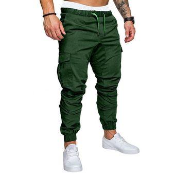 Pantalones Cargo De Safari Para Hombre Pantalones De Chandal Ropa Deportiva Informal Para Hombre Pantalones Cargo De Varios Bolsillos Solidos Pantalones Harem De Hip Hop Ajustados Wan Fk100 Green Linio Peru