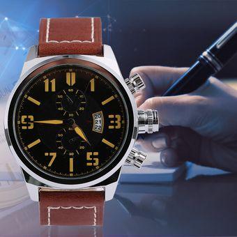 ae02ad50c157 Agotado EW Cuarzo Correa De Cuero De Los Hombres Del Calendario De Los  Relojes De Palabra Neutra
