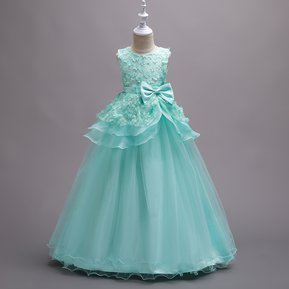 Vestido bordado tutu vestido de novia para niños - Verde 44e4ea80b618