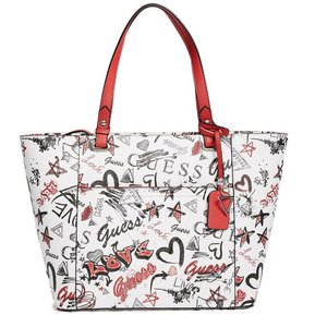 d0133b8bb Cartera Guess Mujer - Rigden Large Printed Tote - Blanco