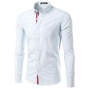 06ea89fab62df Manga Larga Abotonar Camisa Con A Rayas Decoración (Blanco)