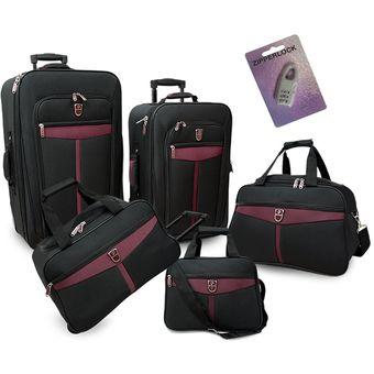 3deaaf09b Compra Set de Cinco Maletas Mc Carthy Eco-5-Negro y Rojo online ...