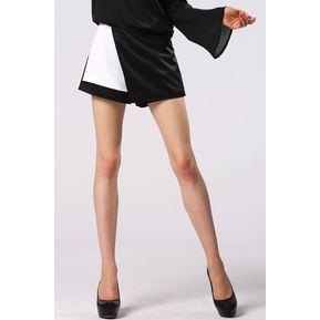 Falda Cruzada De Punto Para Mujer-Negro Con Blanco f0ac9b4a0a4d