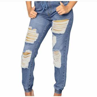 tienda oficial 60% de liquidación mejor servicio Pantalones Cintura Alta Generico Mujer-Azul Claro