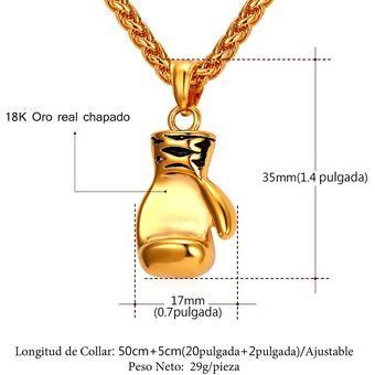 359aa6679c17 Agotado U7 Collar Colgante Con Dije De Guante De Boxeo Chapado En 18K Oro  Cadena De Trigo