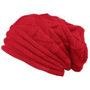 Hombre Mujer algodón tejido cálido Otoño Invierno sombreros paraviento  Beanies tapa exterior Rojo d64e79d1e9b