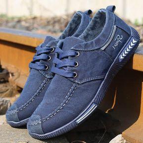 bf4f09ef93 Zapatillas De Mezclilla De Los Hombres Zapatos De Lona De Mezclilla Zapatos