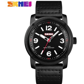 64aa8d5e4e35 SKMEI Reloj Casual Para Hombre Correa De Cuero Reloj De Cuarzo Negro