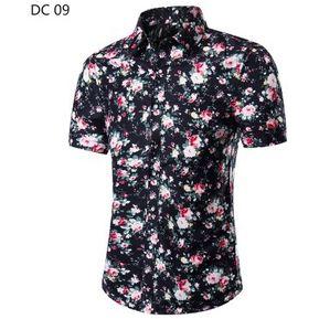 b02b97da35 Camisa De Flor De Manga Corta Para Hombre Camisa Masculina Delgada