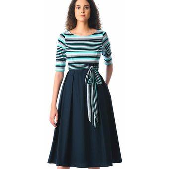 Vestido Casual Fashion Cool Cuello Redondo A Rayas Línea A Azul
