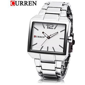 2cb555f9836b Curren 8132 Hombre Reloj De Cuarzo 3 ATM Dial Cuadrado Luminoso Puntero  Reloj De Pulsera De