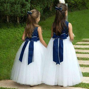 Hermoso Boda Vestidos De Princesas Para Niñas Azul