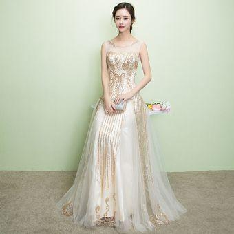 152732c51 Moda Sexy Cóctel Vestidos Elegantes Largo Vestidos De Noche Mujer-Dorado