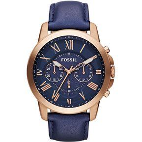 8be4a4b33a6a Reloj Fossil Grant FS4835 Analógico Correa De Cuero Para Hombre - Azul Y  Dorado