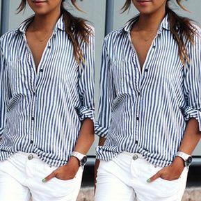 78e2d8603 Camisa Para Mujer De Dibujo Rayas Holgado Cuello Solapa - Azul