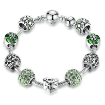 fbb38a846498 Compra Brazalete Pulsera Love Dijes Verde Plata 925 Circonia Regalo ...