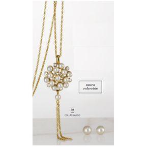 c1c2a3dcd333 Unique - Colección Tressor Perla 1 Collar Y 1 Par De Aretes Metal Bañado En  Oro