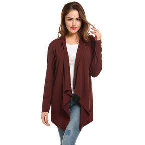 Cardigan Sin Cuello Asimétrico Para Mujer - Rojo De Vino aff5e85eb948