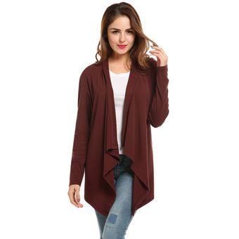 Compra Cardigan sin Cuello Asimétrico para Mujer - Rojo de vino ... 996a72191a1f