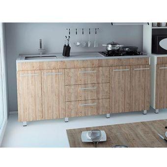 Mueble Para Cocina Inferior 1.80 Metros 4 Puertas 3 Cajones Bari