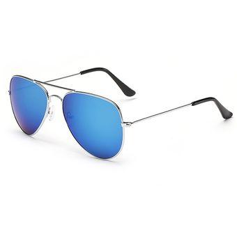 d107bd0042 Agotado Aviador Estilo Gafas De Sol Clásico Hombre Mujer Lentes -Plateado+ Azul  Mercurio
