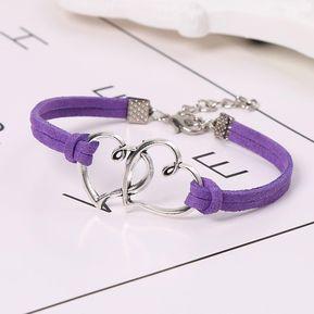 d0d69f836e3c Pulseras Cuerda Doble Capa Pulseras Doble Corazón De Joyería-púrpura Oscuro