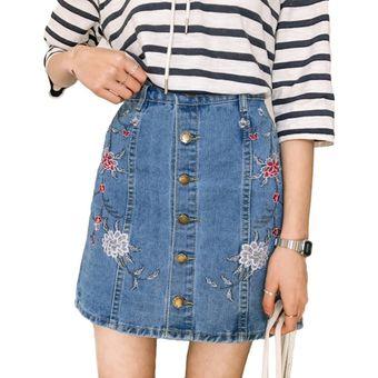 62c0bd58f estudiantes de cintura alta Girls Single Breasted bordado Denim falda corta