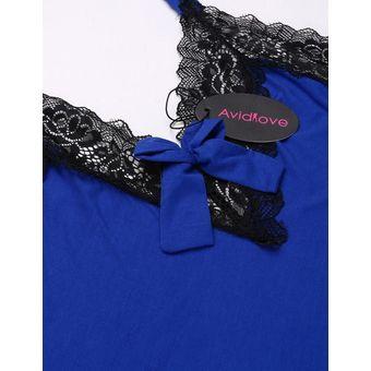 3f8c102574 Lencería Sexy Suave Sin Espalda Ajuste Del Cordón Babydoll Chemise Pijamas  Para Mujer-Azul Real