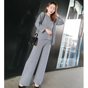Conjunto De 2 Piezas De Pantalon Tejido De Alta Calidad Para Mujer 2020 Nueva Moda Otono Casual Color Solido Jersey Abrigado Y Pantalones De Pierna Ancha Picture Color Linio Peru Un055fa0i6qqylpe