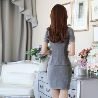 7cbc7f34189c Trajes Con Chaleco Para Mujer Faldas Y Sacos Formales De Oficina Y Negocio  - Gris